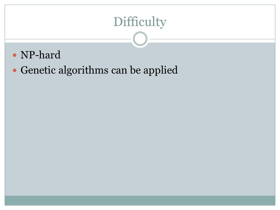 Difficulty NP-hard Genetic algorithms can be applied