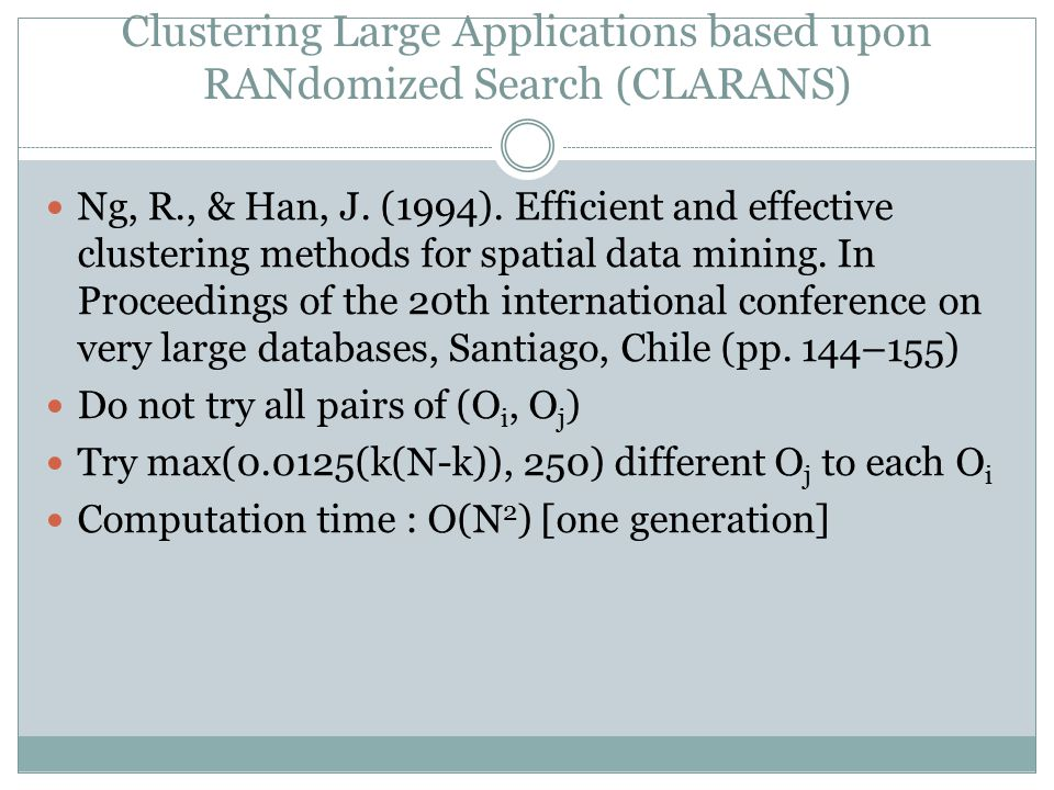 Clustering Large Applications based upon RANdomized Search (CLARANS) Ng, R., & Han, J.