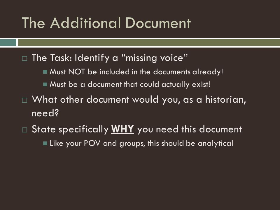 "The Additional Document  The Task: Identify a ""missing voice"" Must NOT be included in the documents already! Must be a document that could actually e"