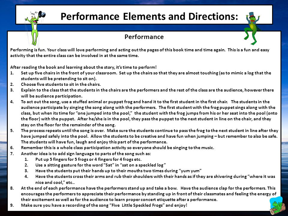 Performance Elements and Directions: Performance Performing is fun.