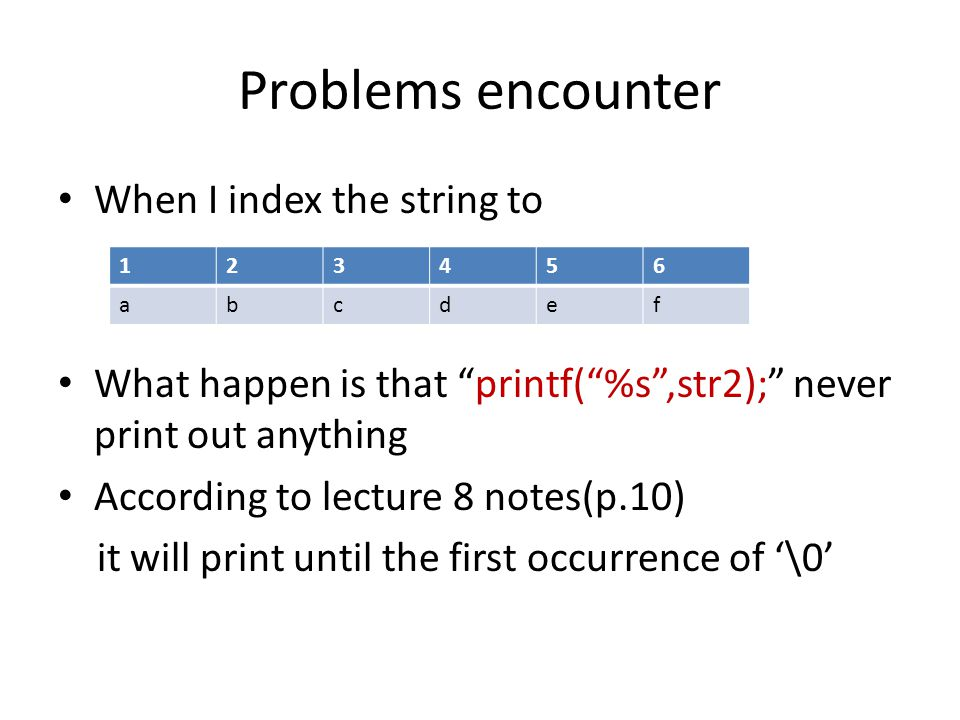 Problems encounter When I index the string to What happen is that printf( %s ,str2); never print out anything According to lecture 8 notes(p.10) it will print until the first occurrence of '\0' 123456 abcdef