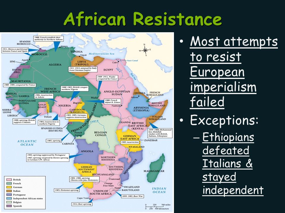 African Resistance Most attempts to resist European imperialism failed Exceptions: – Ethiopians defeated Italians & stayed independent