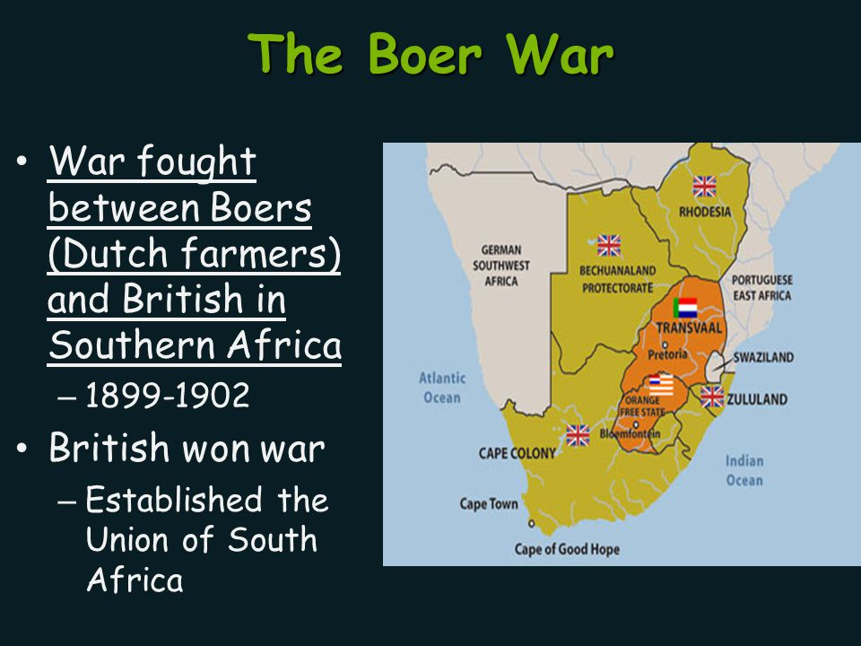 The Boer War War fought between Boers (Dutch farmers) and British in Southern Africa – 1899-1902 British won war – Established the Union of South Afri