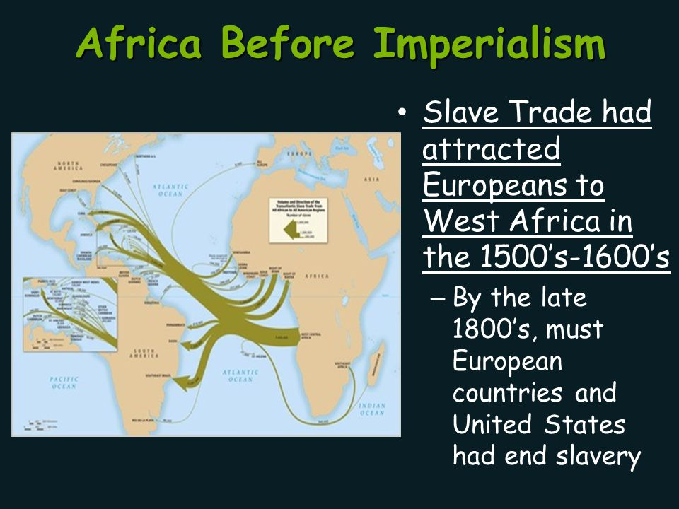 Africa Before Imperialism Slave Trade had attracted Europeans to West Africa in the 1500's-1600's – By the late 1800's, must European countries and Un