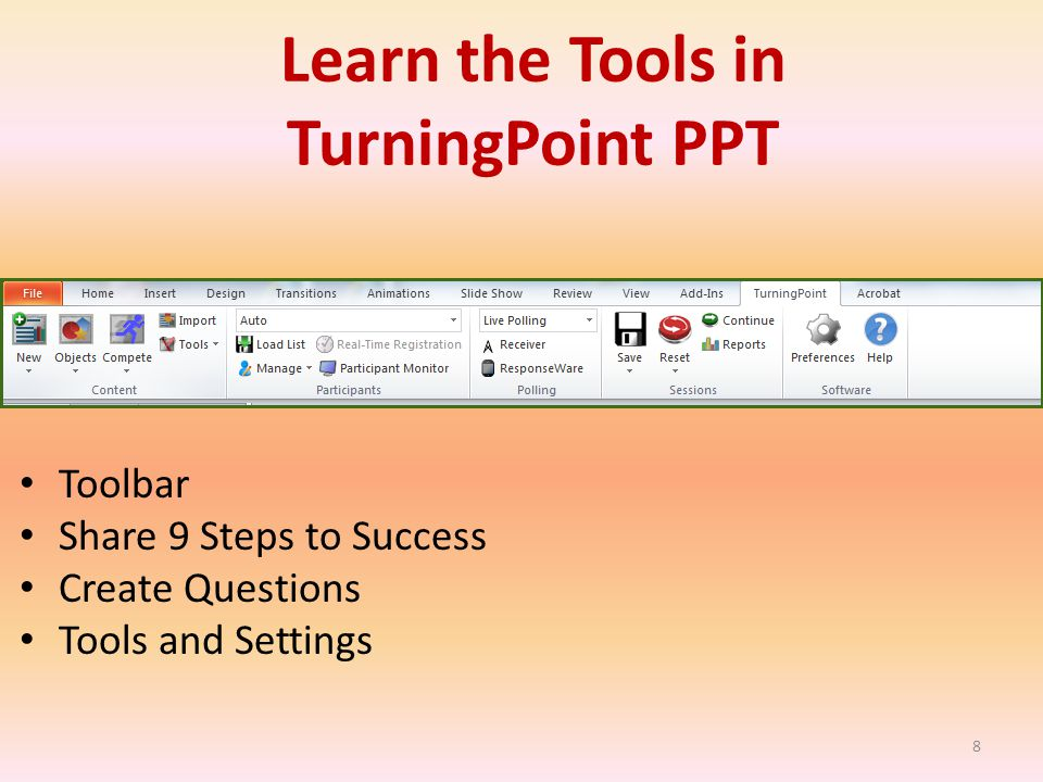 Toolbar Share 9 Steps to Success Create Questions Tools and Settings 8 Learn the Tools in TurningPoint PPT