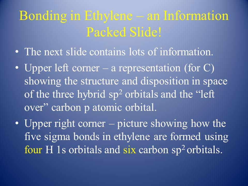 Bonding in Ethylene – an Information Packed Slide.
