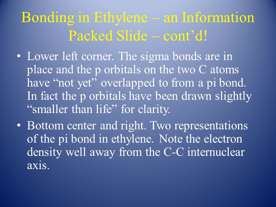 Bonding in Ethylene – an Information Packed Slide – cont'd.