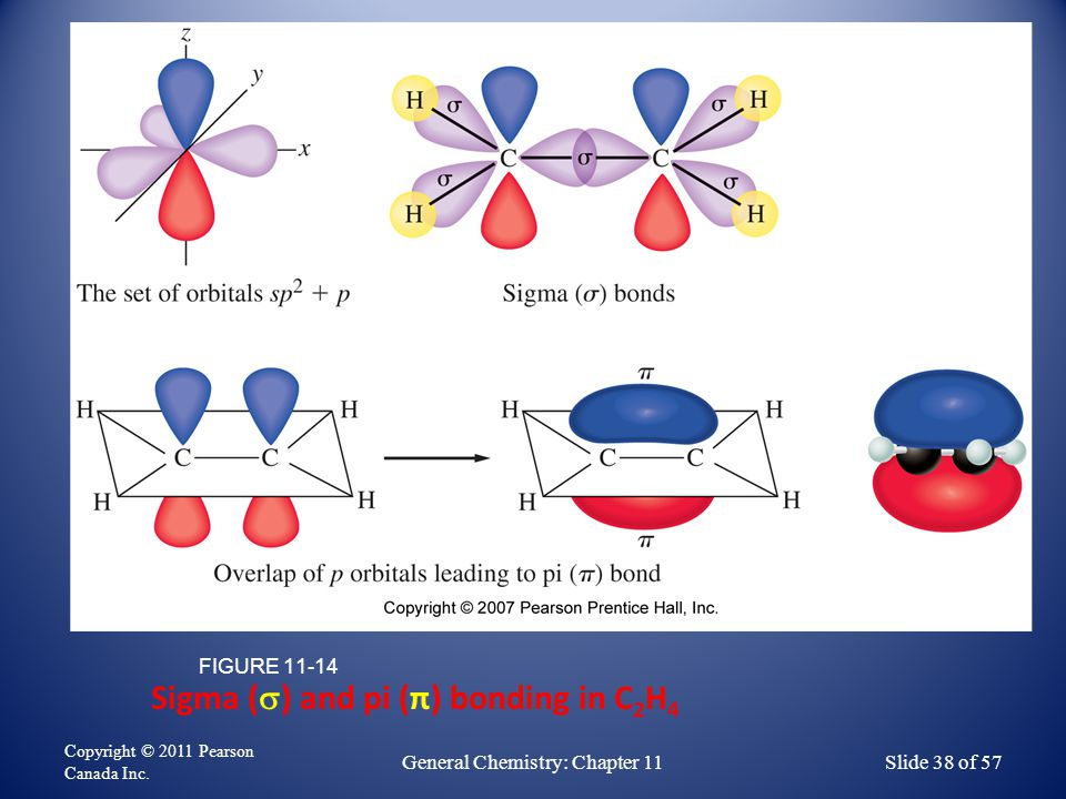 Sigma (  ) and pi (π) bonding in C 2 H 4 FIGURE 11-14 Copyright © 2011 Pearson Canada Inc.