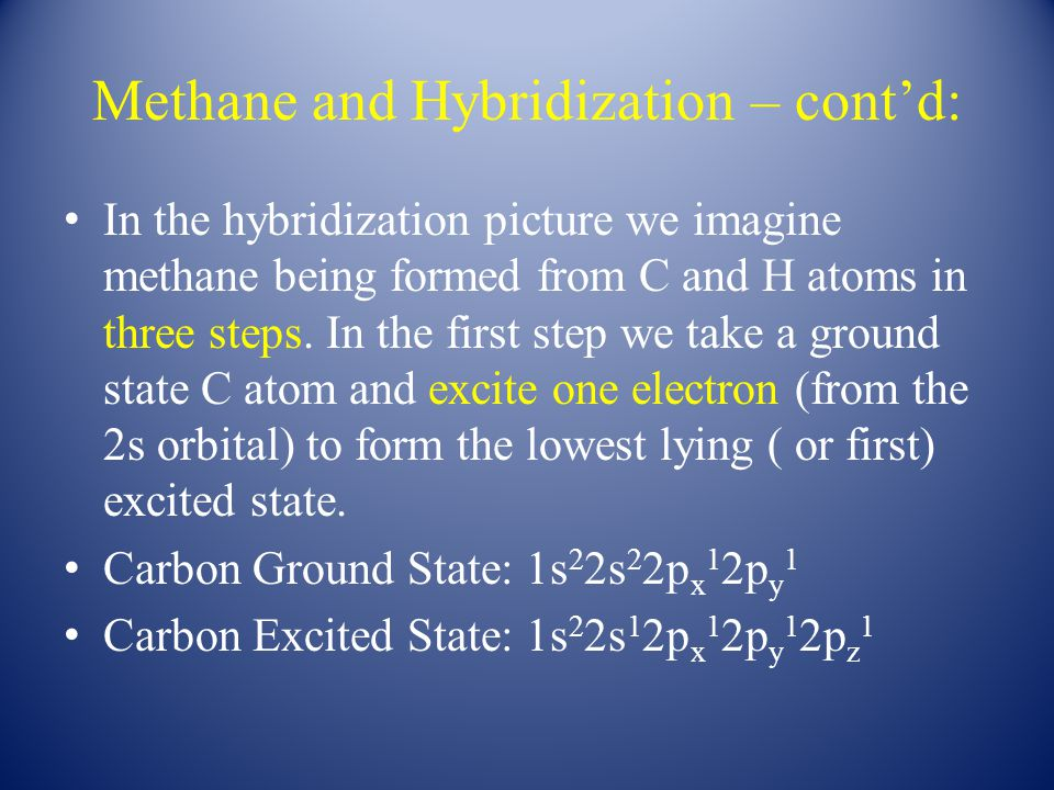 Methane and Hybridization – cont'd: In the second step we imagine combining the single occupied 2s orbital and the three occupied 3p orbitals in the excited to form four equivalent sp 3 hybrid orbitals (each containing a single unpaired electron).