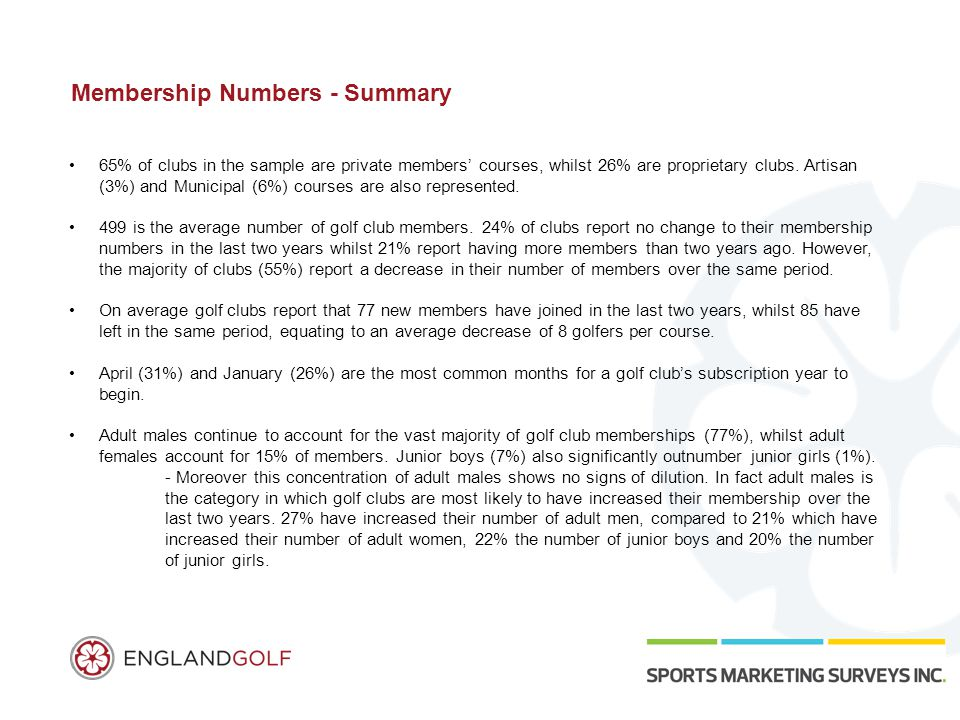 Membership Numbers - Summary 65% of clubs in the sample are private members' courses, whilst 26% are proprietary clubs.