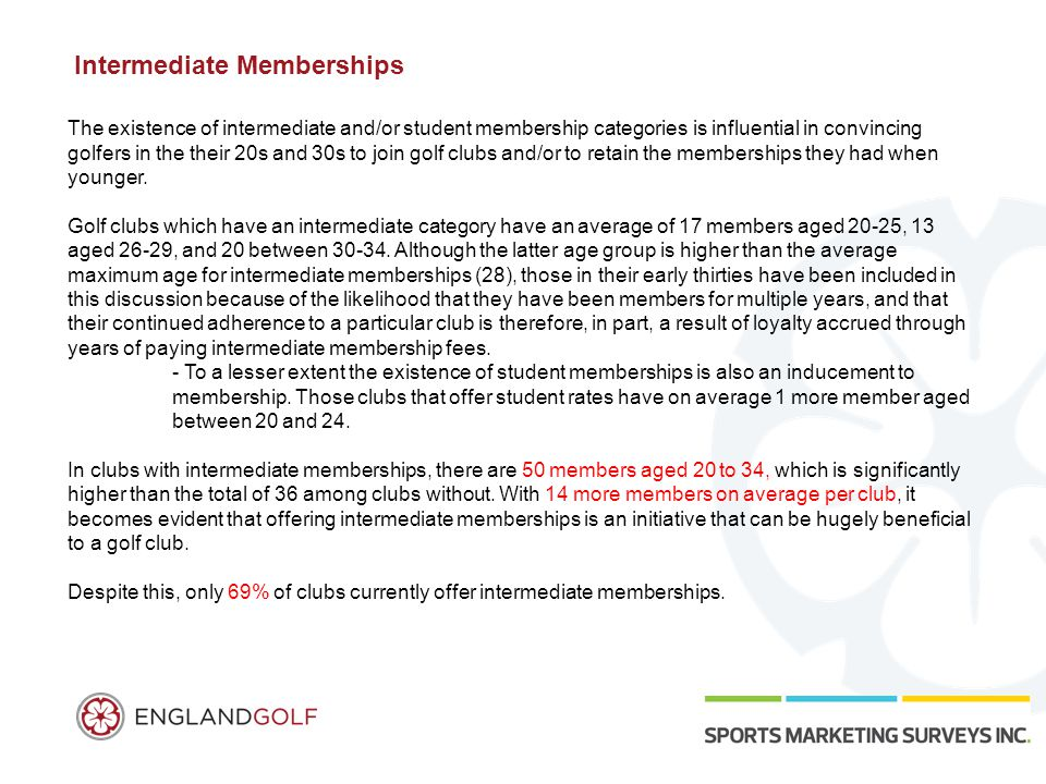 Intermediate Memberships The existence of intermediate and/or student membership categories is influential in convincing golfers in the their 20s and 30s to join golf clubs and/or to retain the memberships they had when younger.