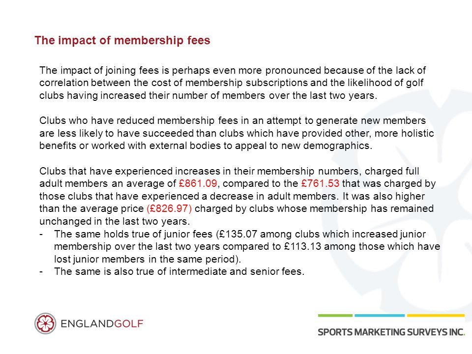 The impact of membership fees The impact of joining fees is perhaps even more pronounced because of the lack of correlation between the cost of membership subscriptions and the likelihood of golf clubs having increased their number of members over the last two years.