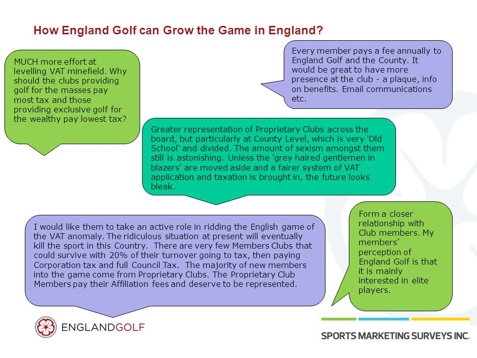 How England Golf can Grow the Game in England? MUCH more effort at levelling VAT minefield. Why should the clubs providing golf for the masses pay mos