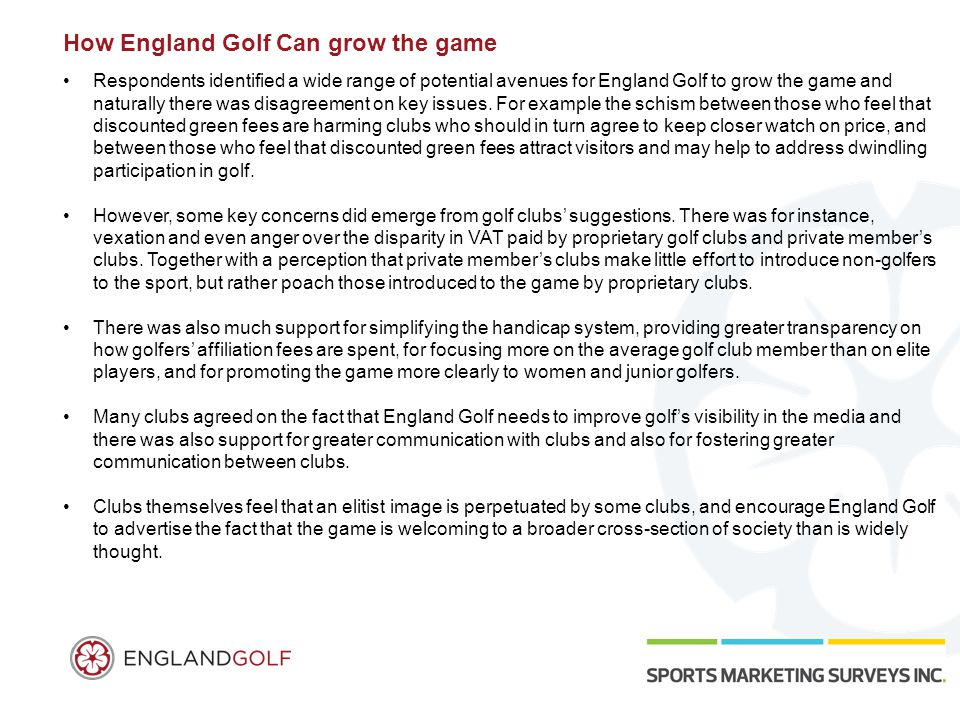 How England Golf Can grow the game Respondents identified a wide range of potential avenues for England Golf to grow the game and naturally there was