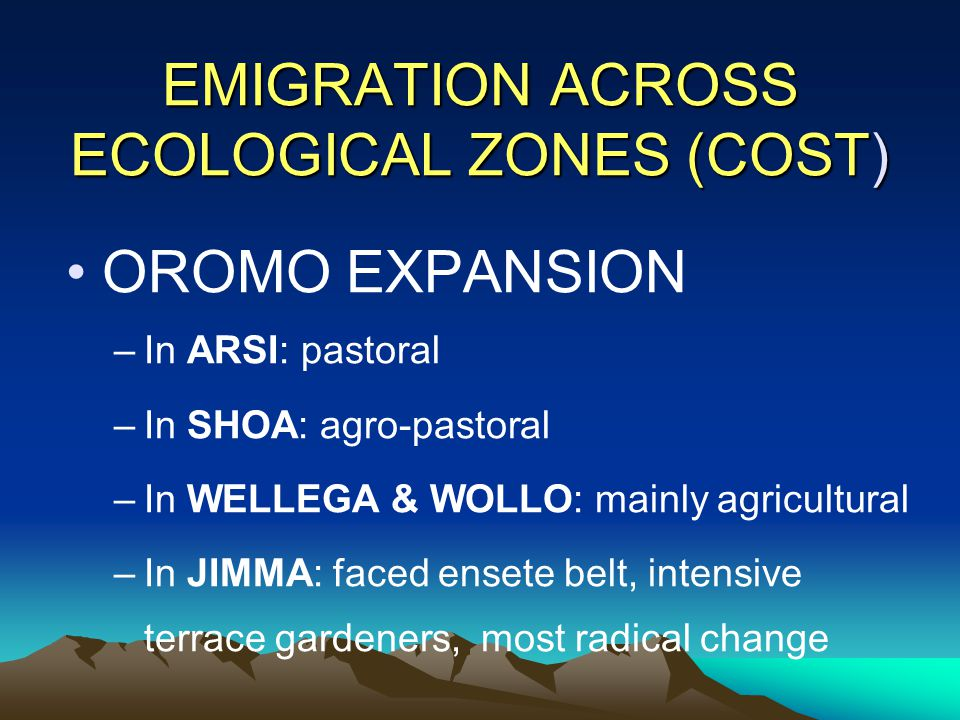 EMIGRATION ACROSS ECOLOGICAL ZONES (COST) OROMO EXPANSION –In ARSI: pastoral –In SHOA: agro-pastoral –In WELLEGA & WOLLO: mainly agricultural –In JIMM