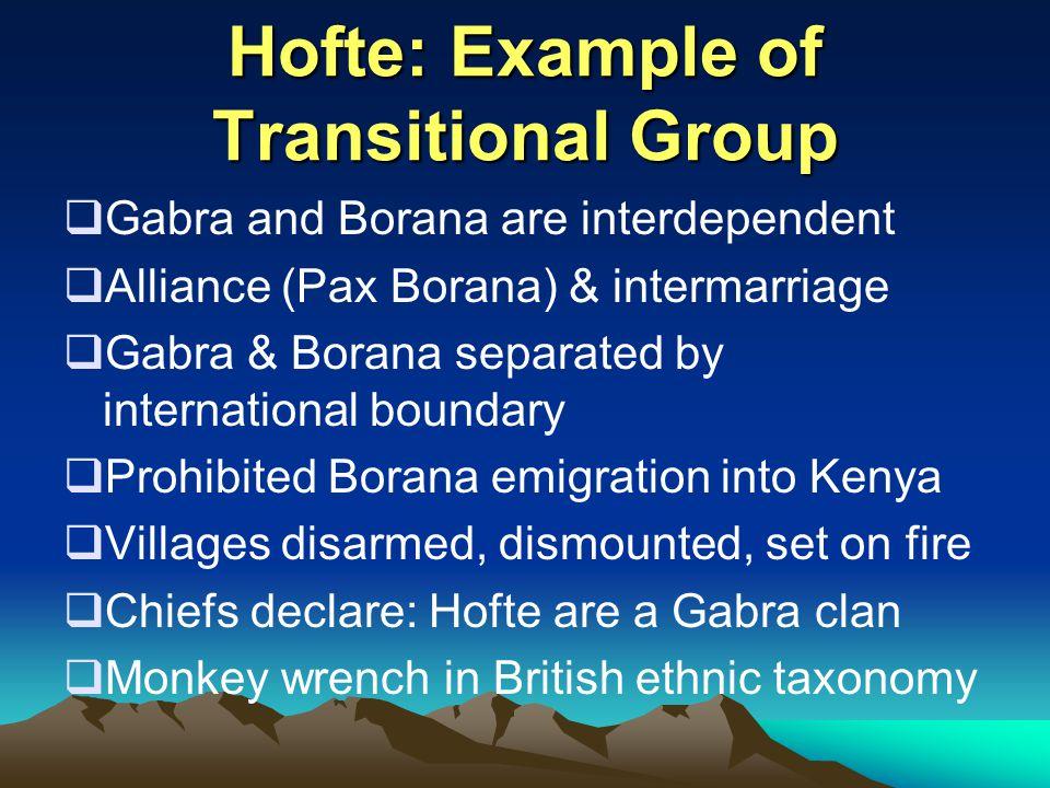Hofte: Example of Transitional Group  Gabra and Borana are interdependent  Alliance (Pax Borana) & intermarriage  Gabra & Borana separated by inter