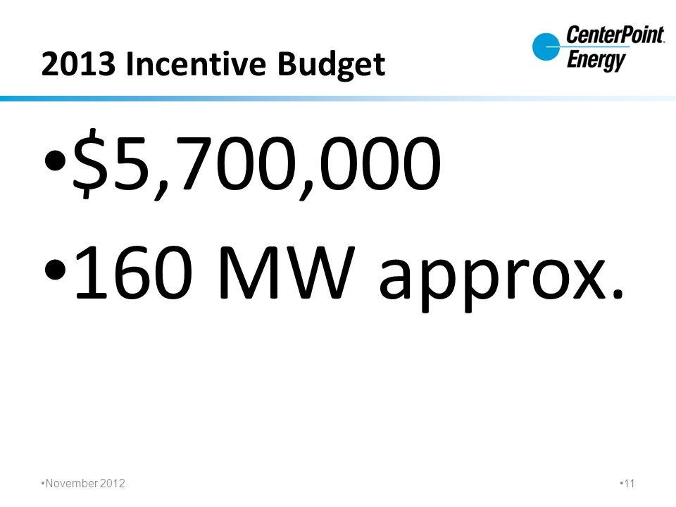 2013 Incentive Budget $5,700,000 160 MW approx. November 2012 11