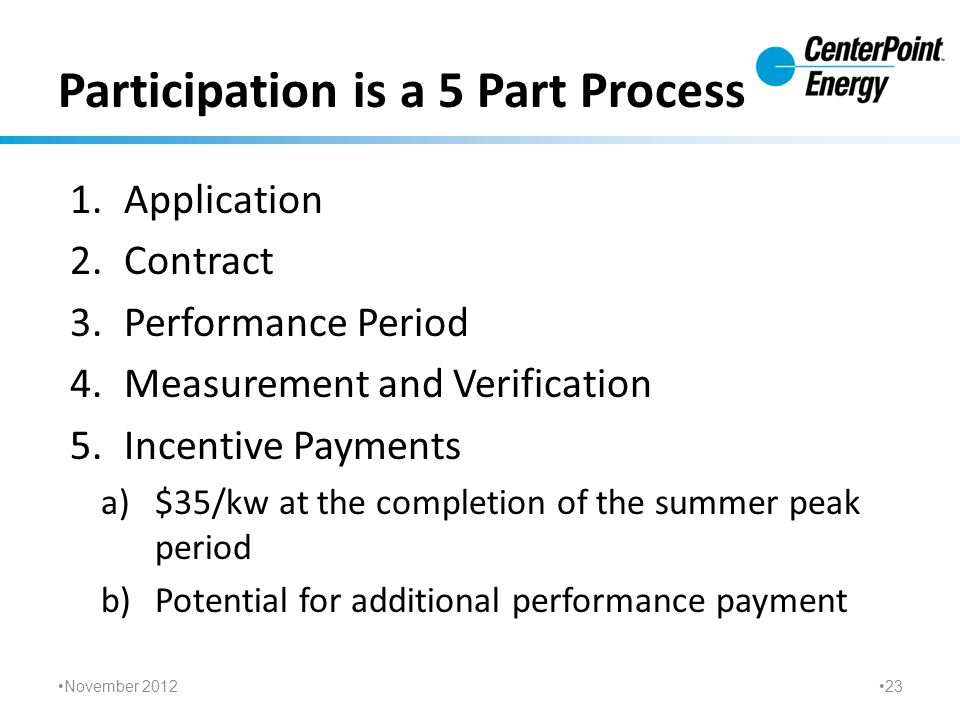 Participation is a 5 Part Process 1.Application 2.Contract 3.Performance Period 4.Measurement and Verification 5.Incentive Payments a)$35/kw at the completion of the summer peak period b)Potential for additional performance payment November 2012 23