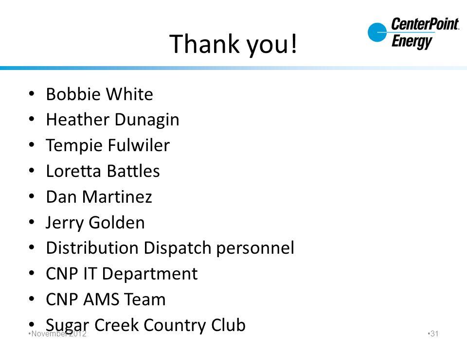 Thank you! Bobbie White Heather Dunagin Tempie Fulwiler Loretta Battles Dan Martinez Jerry Golden Distribution Dispatch personnel CNP IT Department CN
