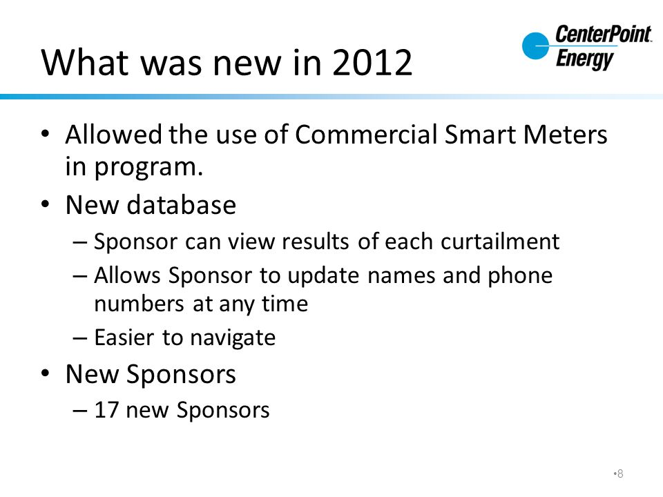 What was new in 2012 Allowed the use of Commercial Smart Meters in program.