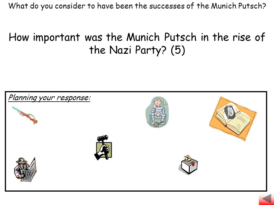 How important was the Munich Putsch in the rise of the Nazi Party? (5) What do you consider to have been the successes of the Munich Putsch? Planning