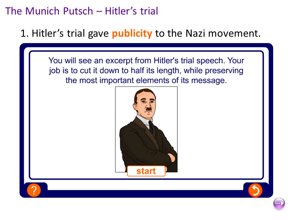 1. Hitler's trial gave publicity to the Nazi movement. The Munich Putsch – Hitler's trial