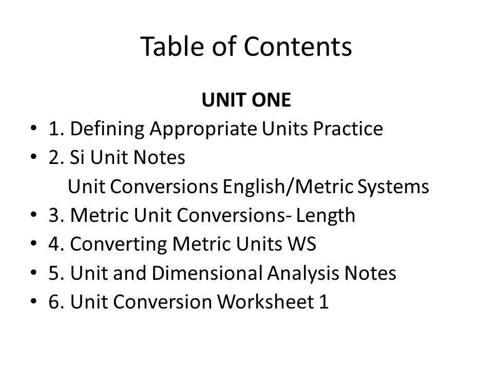 7.Dimensional Analysis Worksheet 8. Unit Conversion Practice #2 9.