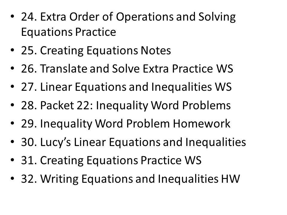 33.Unit Conversions/ Literal Eq. / Creating Equations Quiz 34.