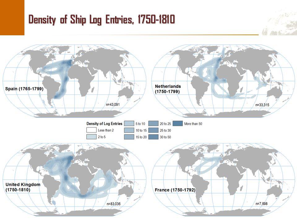 © Dr. Jean-Paul Rodrigue Density of Ship Log Entries, 1750-1810