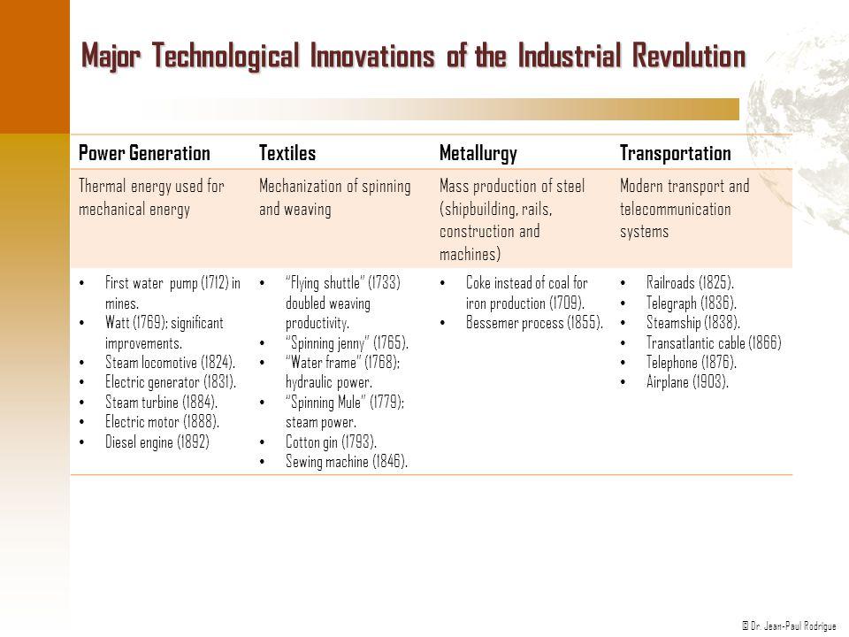 © Dr. Jean-Paul Rodrigue Major Technological Innovations of the Industrial Revolution Power GenerationTextilesMetallurgyTransportation Thermal energy