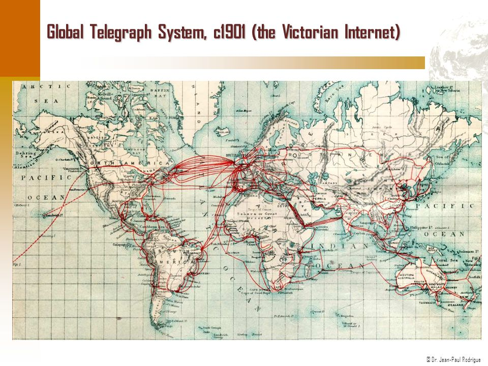 © Dr. Jean-Paul Rodrigue Global Telegraph System, c1901 (the Victorian Internet)