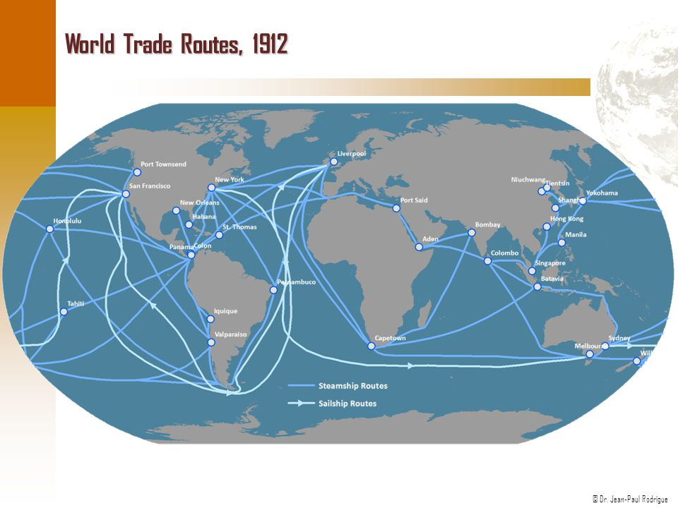© Dr. Jean-Paul Rodrigue World Trade Routes, 1912