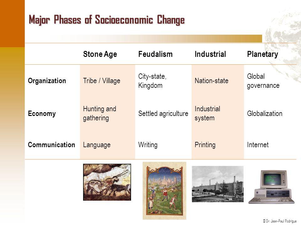 © Dr. Jean-Paul Rodrigue Major Phases of Socioeconomic Change Stone AgeFeudalismIndustrialPlanetary Organization Tribe / Village City-state, Kingdom N