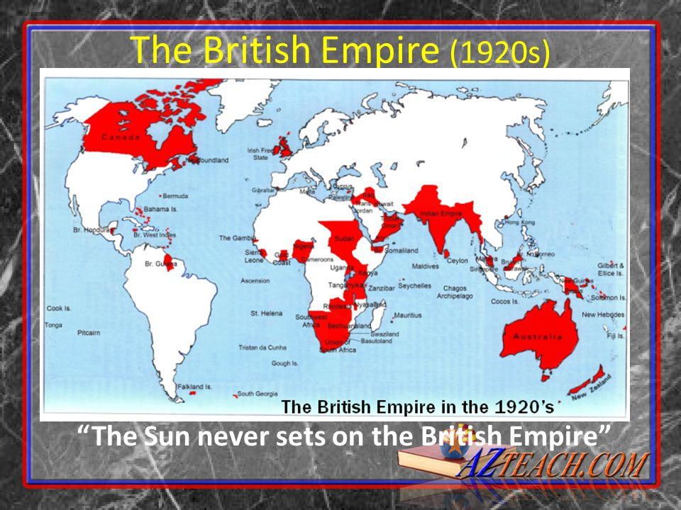 The British Empire (1920s) The Sun never sets on the British Empire