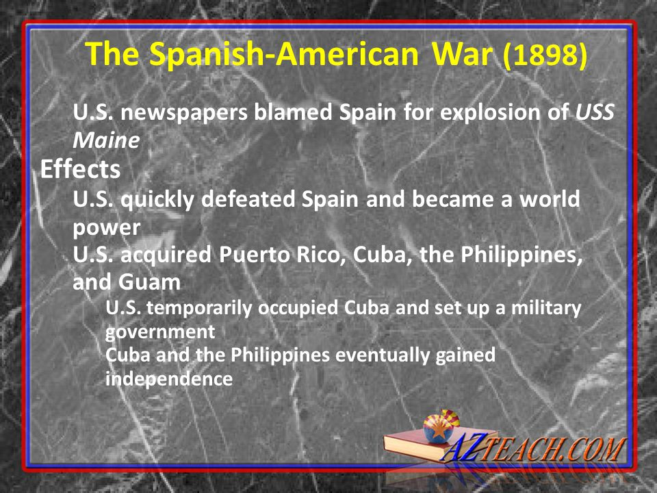 U.S.newspapers blamed Spain for explosion of USS Maine Effects U.S.