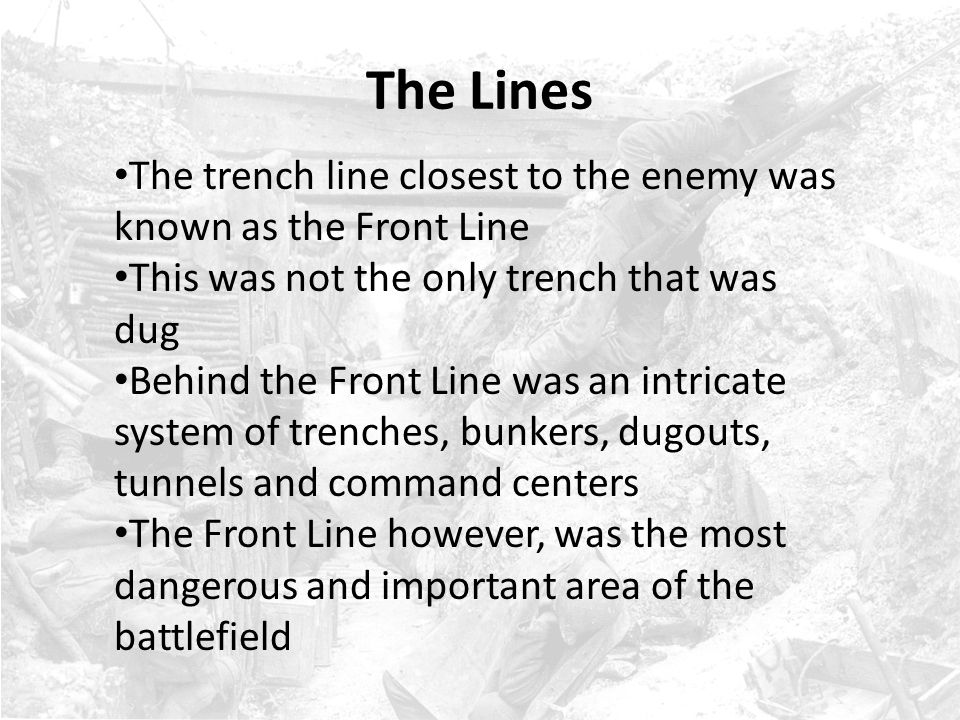 Attacks & Offensives Patrols and trench raids were only minor attacks designed to steal information and terrorize the enemy - full scale attacks were called attacks and offensives An attack was designed to break the enemy line A break in the line would cause the enemy to scramble to close the gap and redirect their troops An offensive was designed to not only break the line but hold the positions that had been taken