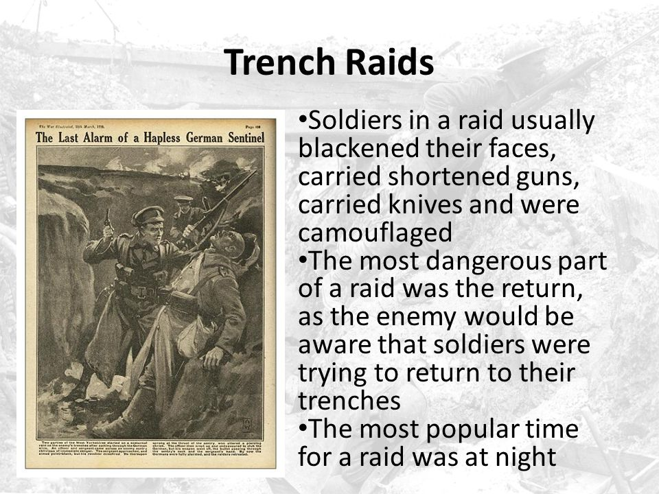 Trench Raids No Man's Land was not easy to cross After crawling over the parapet of a trench, soldiers had to fight through barbed wire, huge shellhole craters, mud, rotting bodies and other entanglements