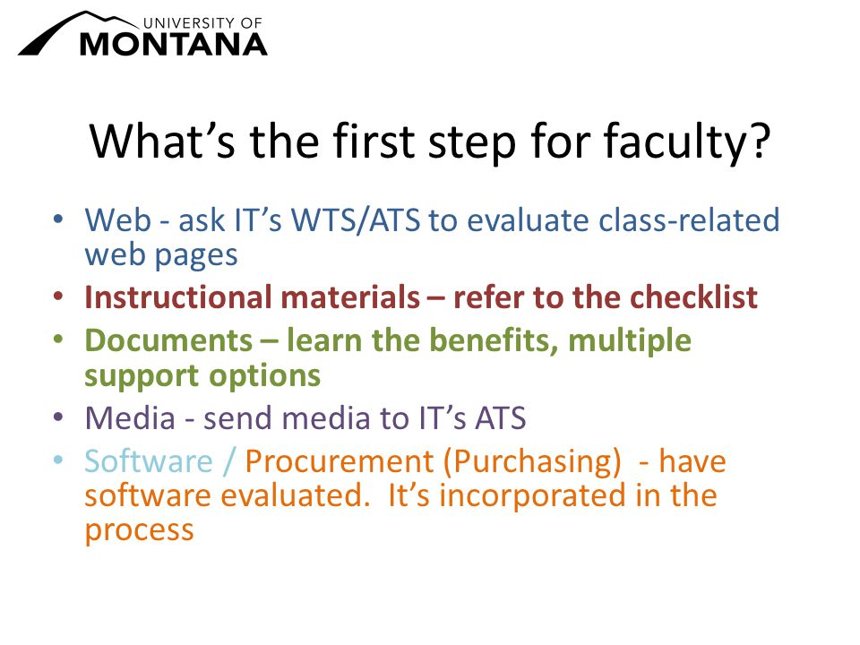 What's the first step for faculty.