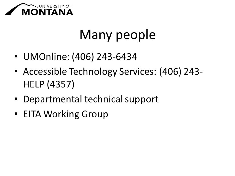 Many people UMOnline: (406) 243-6434 Accessible Technology Services: (406) 243- HELP (4357) Departmental technical support EITA Working Group