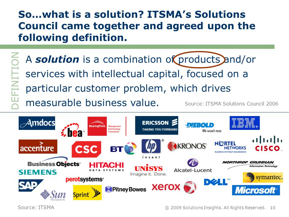 © 2009 Solutions Insights. All Rights Reserved.10 So…what is a solution.