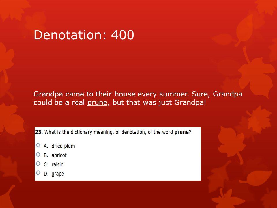 Denotation: 400 Grandpa came to their house every summer.