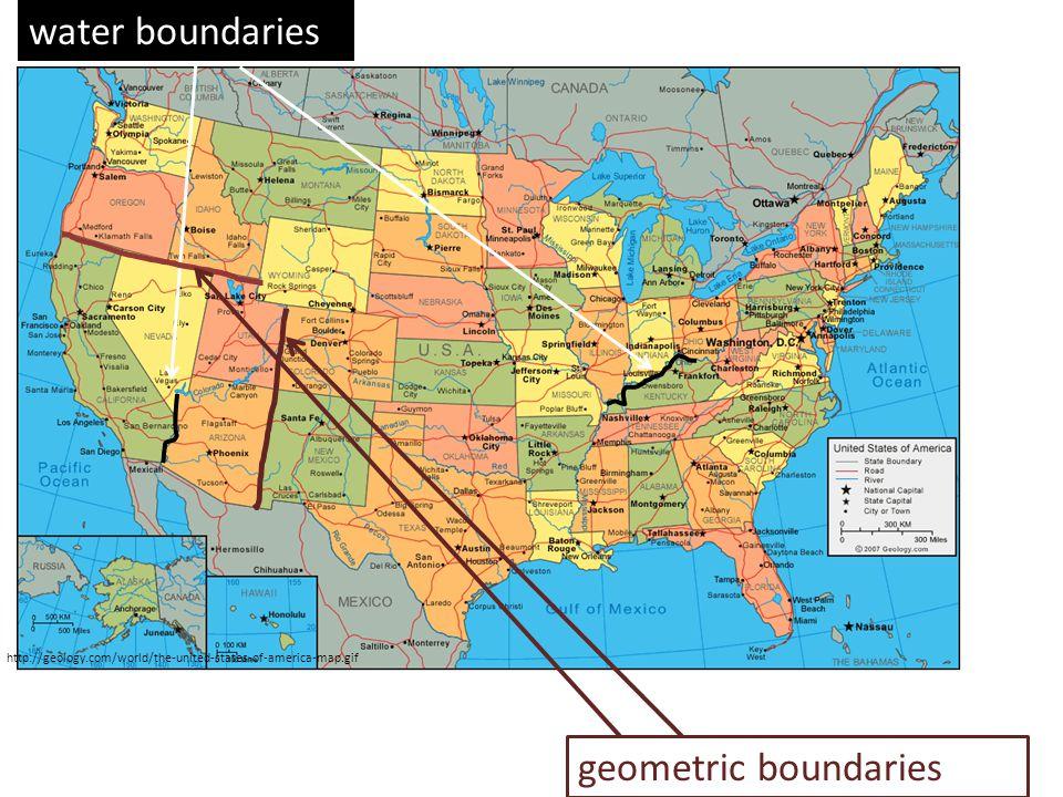 water boundaries geometric boundaries http://geology.com/world/the-united-states-of-america-map.gif