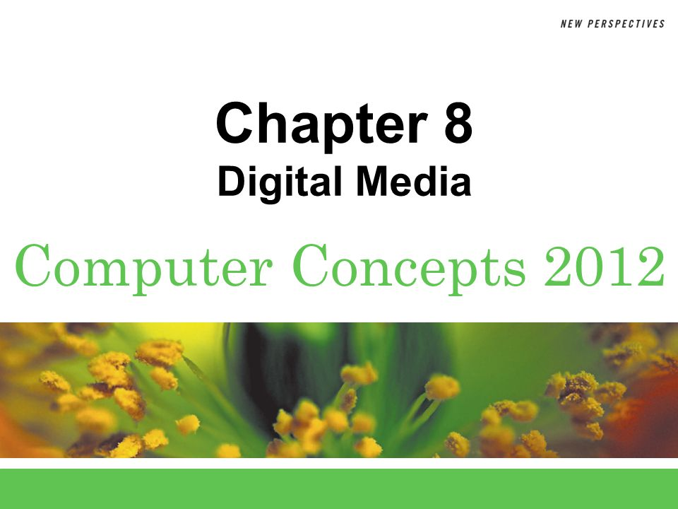 8 Chapter 8: Digital Media2 Chapter Contents  Section A: Digital Sound  Section B: Bitmap Graphics  Section C: Vector and 3-D Graphics  Section D: Digital Video  Section E: Digital Rights Management