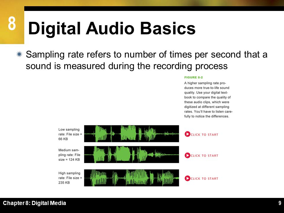 8 Chapter 8: Digital Media9 Digital Audio Basics  Sampling rate refers to number of times per second that a sound is measured during the recording process