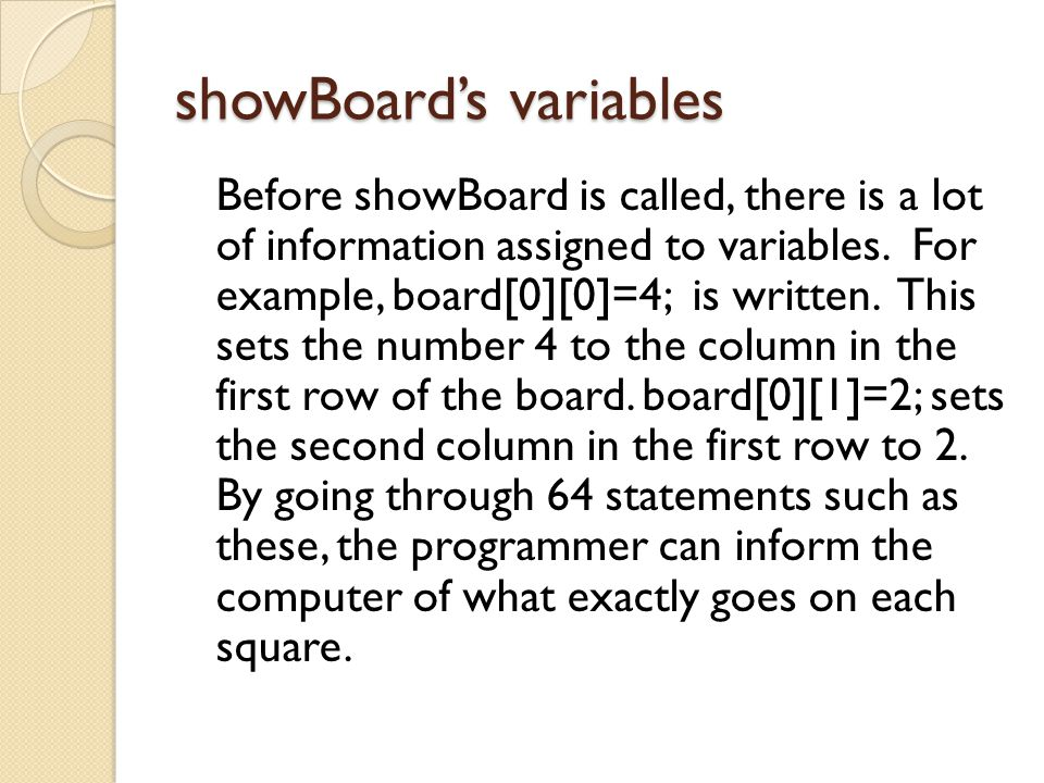 showBoard's variables Before showBoard is called, there is a lot of information assigned to variables.