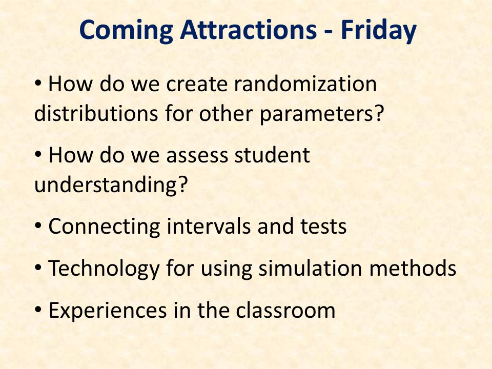 How do we create randomization distributions for other parameters? How do we assess student understanding? Connecting intervals and tests Technology f