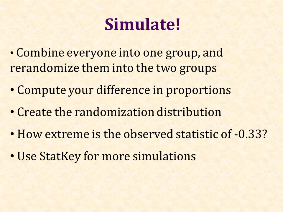 Combine everyone into one group, and rerandomize them into the two groups Compute your difference in proportions Create the randomization distribution