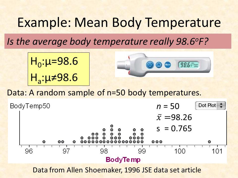 Example: Mean Body Temperature Data: A random sample of n=50 body temperatures. Is the average body temperature really 98.6 o F? H 0 :μ=98.6 H a :μ≠98