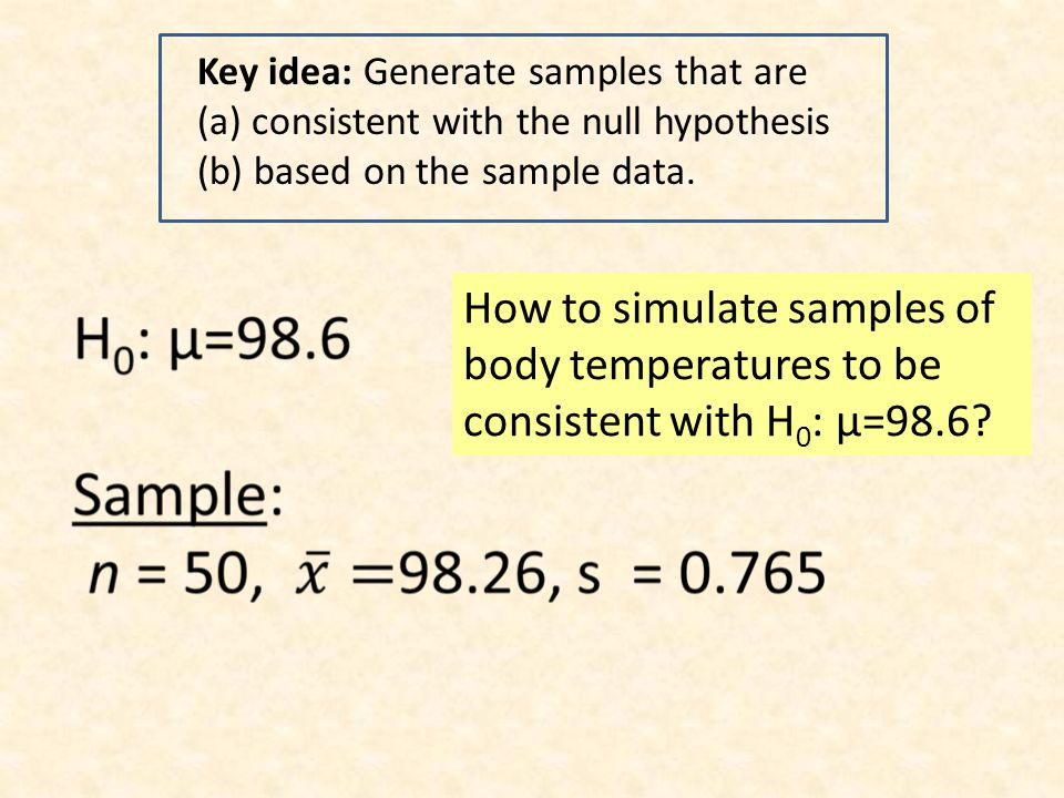 Key idea: Generate samples that are (a) consistent with the null hypothesis (b) based on the sample data. How to simulate samples of body temperatures