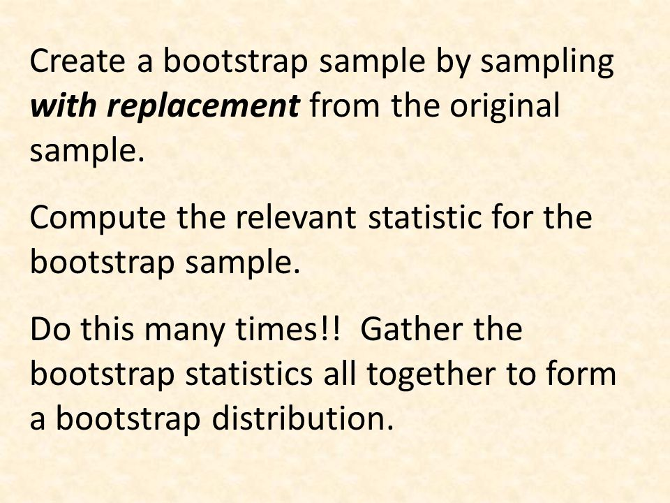 Create a bootstrap sample by sampling with replacement from the original sample. Compute the relevant statistic for the bootstrap sample. Do this many